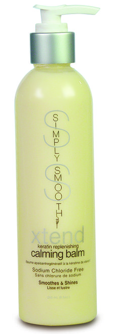 Simply Smooth xtend keratin replenishing calming balm is a botanically blended, keratin infused, non-flaking versatile styling balm that will create a smooth, frizz free blowout or when air dried, will create defined frizz free curls without crunch.