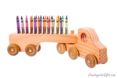 Crayon Holder Wooden Truck Crayon Holder by CountrysideGiftsLLC