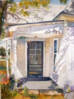 ۩۩ Painting the Town ۩۩ city, town, village & house art - Old Porch, painting by artist Kay Smith