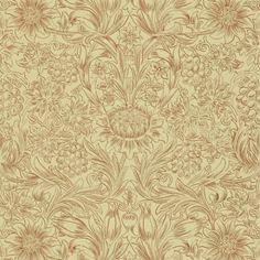 William Morrris 4, Sunflower DMORSU101 Roll Size 10m x 52cm Repeat 46cm straight match Golden Colours Classic Wallpaper