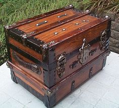 Desktop Size Restored Antique Trunk Original Everything! Perfect for  Jewelry 1a74a8a0054d3