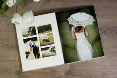 Photojournal Bookbound Album - 11x14 vertical.  White single mat (left), flushmount image (right).