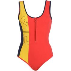 Fila Heritage Bodysuit (755 MXN) ❤ liked on Polyvore featuring intimates, shapewear, tops, bodysuit, shirts, body, one piece and red