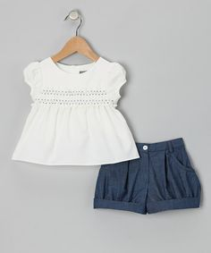 White Shirred Top & Blue Shorts - Infant, Toddler & Girls