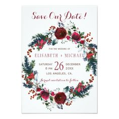 Simple chic floral winter wreath save date wedding card - chic design idea diy elegant beautiful stylish modern exclusive trendy
