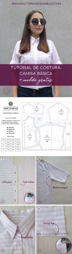 Costura fácil: Camisa a rayas + molde gratis – Nocturno Design Blog Sewing Patterns Free, Free Sewing, Sewing Tutorials, Free Pattern, Sewing Diy, Cheap Diy Headboard, Diy Clothes, Clothes For Women, Booties Crochet