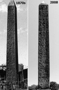 The weathered NYC obelisk Cleopatra's Needle