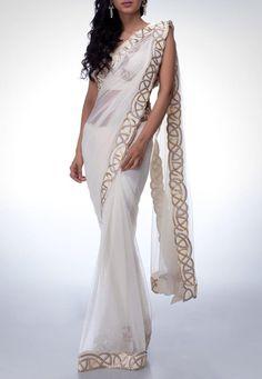 Satya Paul - White & Gold Sari