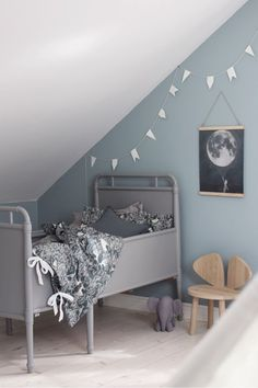 Garbo and Friends - hazels toddler room? Baby Bedroom, Kids Bedroom, Grey Bedding, Bedding Sets, Nursery Room Decor, Bedroom Decor, Scandinavian Kids Rooms, Childrens Beds, Bed Sizes