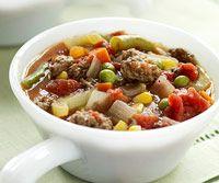 Kansas City Steak Soup -Use sirloin steak instead of ground beef and fresh green beans instead of mixed veggies.