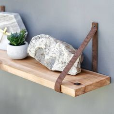The Pronghorn Shelf - Cedar Wood Hanging Shelves - Leather Strap wood shelving - Rustic Wall Bookshelf - Modern Floating mantle