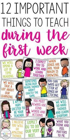 First grade classroom - 12 important things to teach during the first week Great discussion starters to build classroom community Motivational posters for the classroo m First Grade Classroom, Classroom Behavior, Kindergarten Classroom, School Classroom, Classroom Management, Future Classroom, Classroom Ideas, Morning Meeting Kindergarten, Morning Meeting Activities