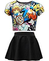 Girls Graffiti Scribble Print Kids Selfie Crop Top & Black Skater Skirt Set Age 7 8 9 10 11 12 13 Yrs
