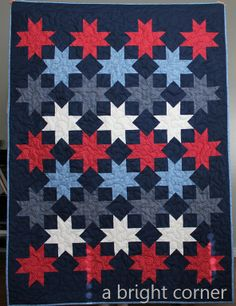 Red, white and blue quilt / blue shades (try with black, grey, yellow)