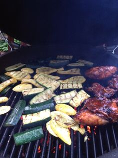 Grilled veggies and BBQ chicken cooked on the Big Green Egg!!! Amazing flavor and so tender!