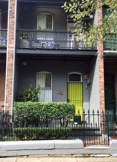 House Color Schemes, Colour Schemes, House Colors, Terrace House Exterior, Victorian Terrace House, Wall Colours, Dark Colors, Dark Grey Houses, Australian Homes