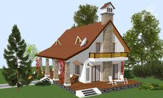 proiecte de case cu mansarda cu patru camere Four room attic house plans 10 Open Space Living, Living Spaces, Traditional House, Traditional Design, Tree Bedroom, Three Bedroom House Plan, Circular Patio, Four Rooms, Attic House