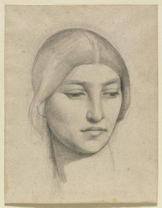 Pierre Puvis de Chavannes (French, 1824 - Study of a Woman's Head, 1865 Pencil on paper, via Portrait Sketches, Drawing Sketches, Art Drawings, Paul Gauguin, Figure Drawing, Painting & Drawing, Silverpoint, Unique Drawings, Old Master