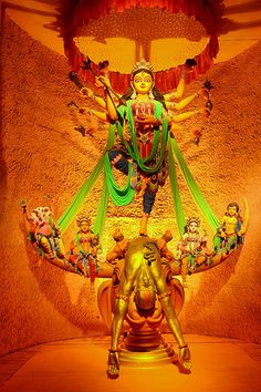 Durga Puja (Bengali: দুর্গা পূজা,Odia ଦୁର୍ଗା ପୂଜା 'Worship of Durga'), also referred to as Durgotsava (Bengali: দুর্গোৎসব Bengali Durgotsava , 'Festival of Durga') or Sharadotsav is an annual Hindu festival in South Asia that celebrates worship of the Hindu goddess Durga. Kali Goddess, Goddess Art, Hindu Festivals, Indian Festivals, Tantra, Durga Puja Kolkata, Durga Ji, Spiritual Pictures, Lord Ganesha Paintings
