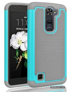 LG K7 Case,LG Tribute 5 Case,ARMORCOO(TM) Honeycomb Raised Lip Heavy Duty Soft Rubber Inner with Hard PC Outer Dual Layer Hybrid Slim Fit Shock Absorbing Impact Defender Cover for LG K7 (Gray/Teal) *** Check out this great product.
