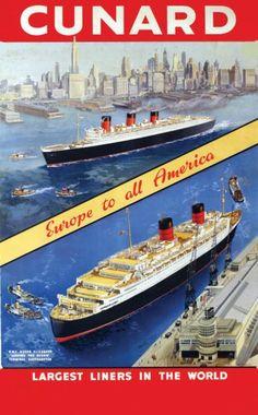 "Cunard - Cherbourg-New York -  ""Queen Elizabeth"" - ""Queen Mary""."