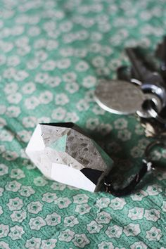 Concrete Faceted Keychain
