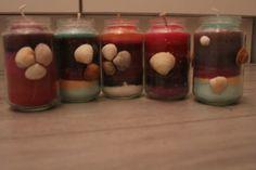 #candles with shells zelfgemaakte #kaarsen met #schelpen versiering