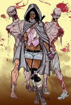 A character eagerly awaited to make her debut in season three of the awesome show The Walking Dead. Michonne is apparently an utter badass, wielding a k. Michonne and her Walkers Michonne Walking Dead, Walking Dead Zombies, Fear The Walking Dead, Comic Book Covers, Comic Books Art, Book Art, Interracial Love, Stuff And Thangs, Best Series