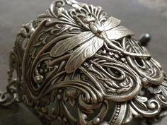 Dragonfly Art Nouveau silver cuff bracelet.   Art Nouveau