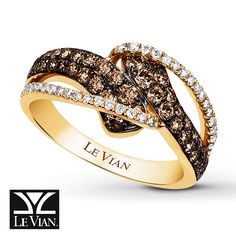LeVian Chocolate Diamonds 7/8 ct tw Ring 14K Honey Gold