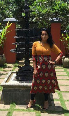 Kurti Kalamkari Designs, Churidar Designs, Kurti Neck Designs, Kurta Designs Women, Blouse Designs, Kalamkari Kurti, Kalamkari Dresses, Kurti Patterns, Dress Patterns