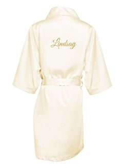 4ce06023fd Personalized Glitter Print Name Satin Robe - Ivory