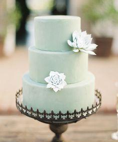 Pretty mint succulent cake