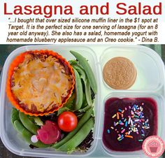 "What's in our lunch box. Lasagna and salad. Lots more great lunch ideas like this one ... from What The Girls Are Having are HERE ► <a href=""http://bit.ly/1fsxXUf"">http://bit.ly/1fsxXUf</a>"