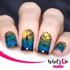 These water decals have creepy crawly spiders, webs, curling trees, and huge moons to create spooky Halloween inspired nails.