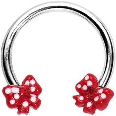 Red Gem Girly Ribbons Horseshoe Circular Barbell | Body Candy Body Jewelry #bodycandy #piercings