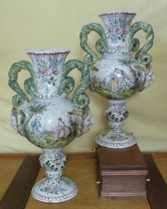 Pair Capodimonte Vases c1890- Romantic Themes- Special SALE! 25% OFF! | Pottery & Glass, Pottery & China, China & Dinnerware | eBay!
