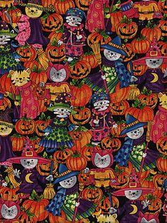 Tossed Pumpkin Jack o Lantern on Black Halloween Fabric David Textiles YARD
