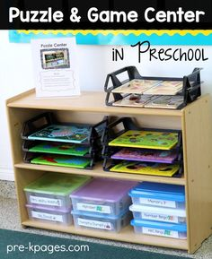 How to Set Up and Organize a Puzzle and Game Center in your home or preschool classroom.