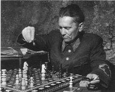 A crafty tactician. Josip Broz Tito plays chess at his Bosnian HQ during 1943-44.