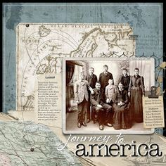 Journey To America ~ Awesome heritage page with a map background that shows an ancestor's emigration to their new life in America!
