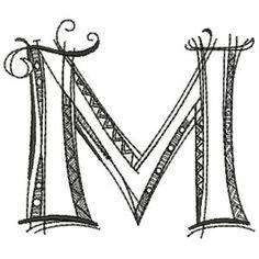 Letter M Zenspirations by Joanne Fink embroidery alphabet Painted Letters, Monogram Letters, Letters And Numbers, Embroidery Alphabet, Embroidery Works, Doodle Lettering, Creative Lettering, Doodle Alphabet, Zen Doodle Patterns