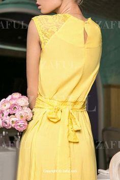 Yellow Round Neck Sleeveless Maxi Dress YELLOW: Maxi Dresses | ZAFUL