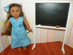 American girl size chalkboard with chalk and eraser