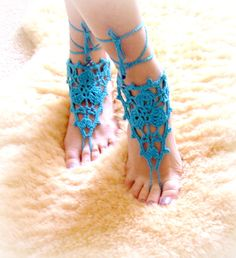 Crochet Barefoot Sandals Beach Pool Wear by elenascrochetjewelry, $15.00