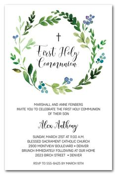 A beautiful watercolor wreath of spring leaves and flower buds in shades of blue, these invitations are perfect for your child's first holy communion invitations. Come see our entire first communion invitation collection at Announcingit.com