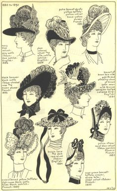 Selection of Victorian hats from 1880 to 1890