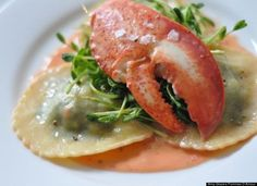 Lobster Ravioli, Pea Shoots And Smoked Paprika Sauce
