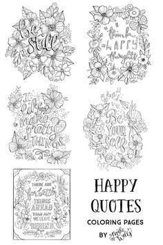 """Hooray! You can now color your own Makewells illustrations with my new downloadable coloring pages! (downloadable in high-resolution PDF). This listing is for a set of FIVE printable coloring pages, which you can then download and print as many times as you'd like. Each page features a quote or phrase – hand lettered and illustrated by Megan. The artwork is sized for an 8.5x11 (letter size) page and should print perfectly on any properly working printer. It's best to select """"fit to page""""…"""