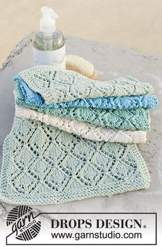 Diamond Wash / DROPS 189-15 - Knitted cloth with lace pattern and garter stitch. Piece is knitted in DROPS Muskat.